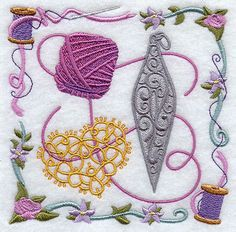 Tatting and Shuttle Collage Design - Machine Embroidered Quilt Block on Etsy, $15.31 AUD