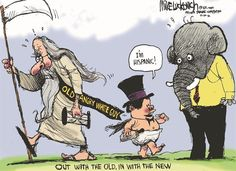 In With the New © Mike Luckovich,The Atlanta Journal Constitution,new year,hispanic,old,new,2013,new-year-2013