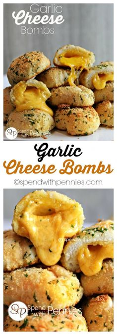 These Garlic Cheese Bombs are not only delicious, they are easy to make! Perfect as a snack, appetizer or side! These Garlic Cheese Bombs are not only delicious, they are easy to make! Perfect as a snack, appetizer or side! Think Food, I Love Food, Good Food, Yummy Food, Cheese Bombs, Garlic Cheese, Garlic Bread, Baked Garlic, Snacks Für Party