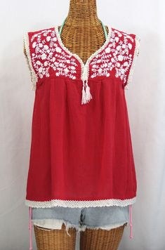 """Siren's """"La Marbrisa"""" Sleeveless Mexican Blouse in Red with White embroidery...."""