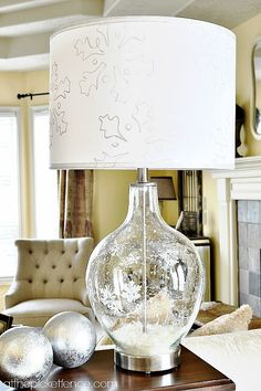 Etched glass snowflake lamp...this is perfect for all winter!