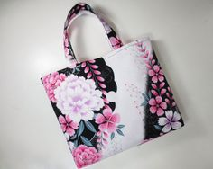 Peony and Dianthus Tote Bag made from Yukata fabric by KazStyle