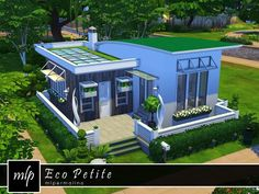 Eco Petite house by mlpermalino at TSR via Sims 4 Updates