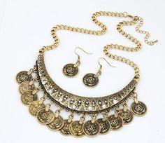 2015 New Women's Fashion Gold Silver Vintage Coins Pendant Statement Necklace Bib Hot Charm Choker Necklaces HT-106 #Affiliate