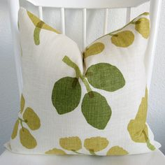 SALE  - Decorative pillow cover - Throw pillow - 20x20 - Ivory - Yellow green - Green - Leafs - Linen - Designer fabric - $20