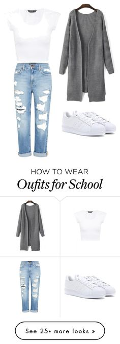 """casual school outfit"" by abbymondro on Polyvore featuring Genetic Denim and adidas"