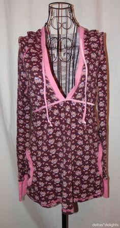 FREE PEOPLE TOP M Medium Brown Pink HOODIE Long Sleeve Floral Pockets Ladies #FreePeople #Hoodie