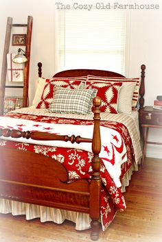 """Red and white quilts and bedding for a four poster bed :: The Cozy Old """"Farmhouse"""":"""