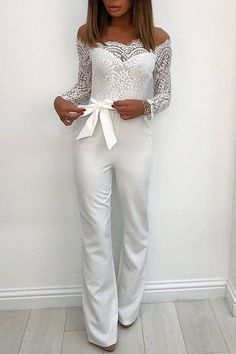 White Elegant Lace Sleeve Eyelash Wide Leg Jumpsuit Pantsuit Romper White Elegant Lace Sleeve Eyelash Wide Leg Jumpsuit Pantsuit Romper jumpsuit jumpsuit jumpsuit jumpsuit Piece jumpsuit One Pilots White Jumpsuit Formal, Formal Romper, Trend Fashion, Fashion Outfits, Casual Outfits, Wedding Jumpsuit, White Pantsuit Wedding, Blue Wedding Dresses, Shower Outfits