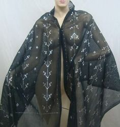 Authentic Egyptian Belly Dance Black Tulle Bi Telli Assuit Shawl w Silver Sale | eBay