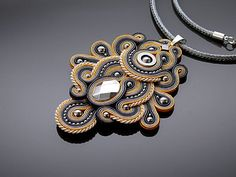 Gray and yellow Soutache necklace with Haematite. от ANBijou