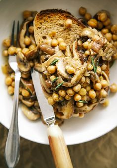 {new one!} rosemary mushroom + chickpea ragoût on toast // the first mess
