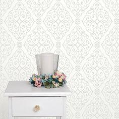 Crown Jasmine Damask Glitter Wallpaper - White - http://godecorating.co.uk/crown-jasmine-damask-glitter-wallpaper-white/