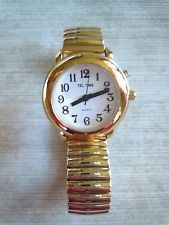 New Ladies Tel-Time Talking Analog Gold Tone Wrist Watch / Stretch Band Stretch Bands, Watches, Gold, Accessories, Ideas, Wristwatches, Clocks, Thoughts, Yellow