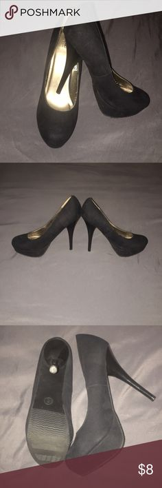 """Mossimo Black """"Suede"""" Heels Super sexy Mossimo black suede heels, great for any look from dressing up this cute skinny jeans to pairing them with that little black dress! Has very minor scuffs. Mossimo Supply Co Shoes Heels"""