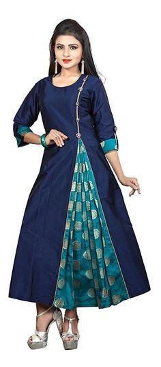 Ruchika Fashion Indian Bollywood Women's Blue Colour Redy Made Kurta Salwar Designs, Kurta Designs Women, Kurti Designs Party Wear, Blouse Designs, African Fashion, Indian Fashion, Kurta Neck Design, Mode Hijab, Indian Designer Wear