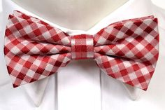 CONSTANTINE Silk Tied bow tie from Tieroom, Notch , checked pattern in different red shades & silver white