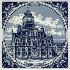 Delft Blue tile, city hall Delft. Visit shop.holland.com for contemporary Dutch design, gifts and souvenirs inspired by Delftware