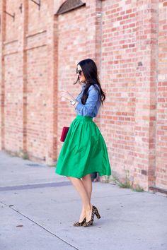 Kelly green skirt and chambray shirt