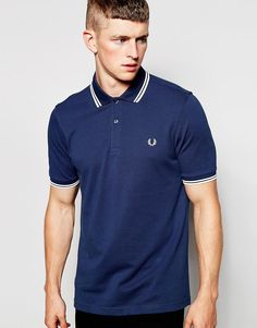 De l�kreste Fred Perry Polo Shirt with Twin Tip in Slim Fit Service Blue -  Service