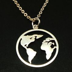 Travel Necklace Flight Attendant Gift Inspirational Necklace Earth Jewelry Gift for Traveler World Necklace Silver Globe Necklace