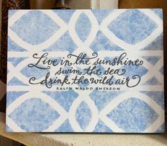 "Hand painted weathered blue lattice 11"" x 14"" horizontal canvas Emerson quote~HWS Originals on Facebook =)"