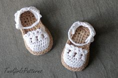 Crochet Pattern for Baby Espadrille Sandals  Crochet pattern by TwoGirlsPatterns | Etsy