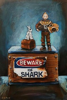 Fearless Man & His Dog, Tintin painting by Grace Kotze Dog Artist, South African Artists, Painting Still Life, Art Object, Art Google, My Childhood, Book Worms, Something To Do, Pop Art