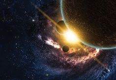 Planet Sunrise MURAL Space Galaxy Ceiling by FromEUwithLove