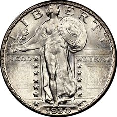1930 S Standing Liberty Quarter, Brilliant Uncirculated BU Old Coins, Rare Coins, Quarter Auction, Liberty, Us Silver Coins, Coin Auctions, Foreign Coins, Quarter Dollar, Valuable Coins