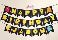 Pac man party Pac man Birthday Pac man Banner Pac man