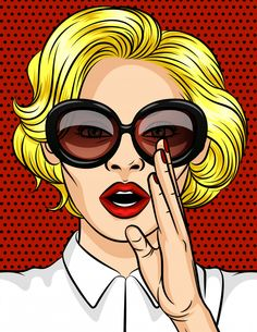 Color vector illustration in pop art style. The girl the blonde in dark glasses tells a secret. A beautiful lady with red lips hol. Ds her hand at her mouth. The stock illustration Foto Pop Art, Superhero Background, Desenho Pop Art, Fashion Art, Vintage Fashion, Vintage Style, Retro Pop, Color Vector, Geometric Background