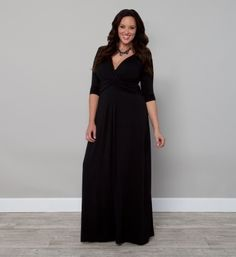 KIYONNA Sz 2 2X Plus Size Black Jersey Knit Maxi Dress DESERT RAIN 3/4 Sleeve