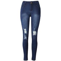Yoins Fashion Front Shredded Ripped Jeans (1,120 DOP) ❤ liked on Polyvore featuring jeans, blue, blue jeans, distressing jeans, torn jeans, ripped jeans and destructed jeans