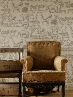 Ark Wallpaper from Andrew Martin. A vintage hand drawn wallpaper featuring animals from the jungle, a theme that is synonymous with the Andrew Martin brand. Cloud Wallpaper, Wallpaper Decor, Wallpaper Online, Animal Wallpaper, Boys Wallpaper, Rockett St George, Pierre Frey, Designer Wallpaper, Home Accents