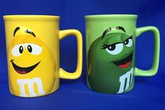 M&M Mugs 2 Official Licensed 3D Raised Coffee Green Lady and Yellow Peanut Cups #MM