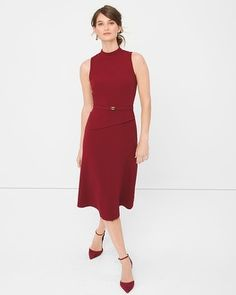 White House | Black Market Peplum-Detail Fit-And-Flare Dress