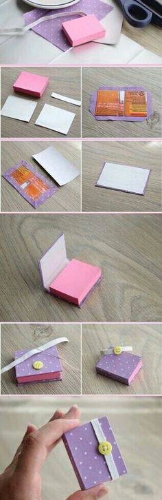DIY cute holder for mini post it note pad. Idea for secret santa, stocking stuff. - DIY cute holder for mini post it note pad. Idea for secret santa, stocking stuffers or teacher gift - Fun Crafts, Diy And Crafts, Crafts For Kids, Diy Paper, Paper Crafts, Ideias Diy, Book Making, Bookbinding, Mini Books