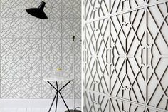 Genevieve Bennett's Maze leather wall tiles, inspired by Japanese cut screens, introduce pared-down pattern, texture and luxury into a room.