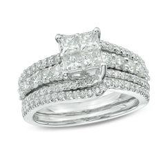 1-3/8 CT. T.W. Princess-Cut Quad Diamond Bridal Set in 10K White Gold