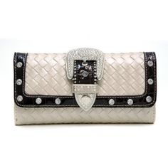 Dasein Western Rhinestone buckle wallet w/ woven texture - White Country Girl Life, Country Girls, Cute Wallets, Checkbook Cover, Purse Wallet, The Ordinary, Women Accessories, Shoulder Bag, Purses