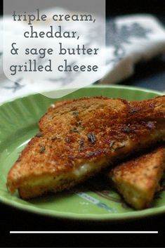 This triple cream, cheddar, and sage butter grilled cheese sandwich has the richness of brie, the sharpness of cheddar, and the fragrant herbiness of sage butter. Pretty much the best grilled cheese ever. Vegetarian. From Blossom to Stem | www.blossomtostem.net