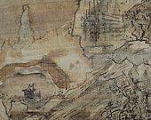 ORIGINAL Chinese view in the mountains/Original Handmade Fine Art Aquarel On Papyrus. See sieweartshop.etsy.com