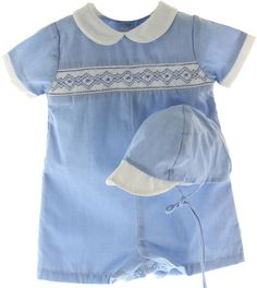 Baby Boys Blue Gingham Smocked Romper Outfit