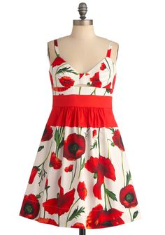 Quick Visit Dress in Poppies - Red, Floral, Pockets, A-line, Spaghetti Straps, White, Cutout, Party, Spring, Mid-length