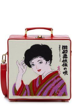 Pochette en toile brod�e Kimono Lady 7 Inch detail 0