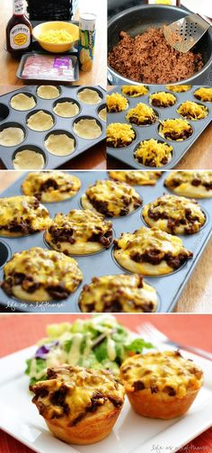 Step-by-step BBQ Cups | Ready to go in 20 minutes. Use canned Roast beef and gravy, add bbq sauce, top with cheese.