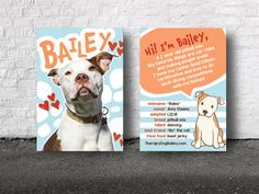 Bailey's owners give these cards to kids they meet on their daily walks.