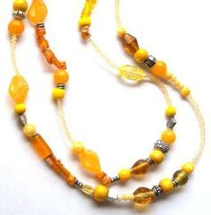 Ketten lang - Lange Halskette in gelb - ein Designerstück von Modeschmuckstuebchen-Andrea bei DaWanda