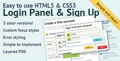 Easy to use HTML5 & CSS3 Login Panel - https://codeholder.net/item/css/easy-use-html5-css3-login-panel